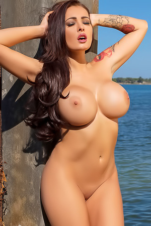 Charley flshing boobs by the sea