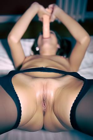 Wild masturbation with big dildo