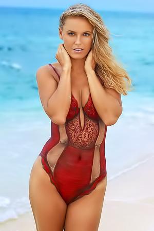 Caroline Wozniacki in sexy red swimsuit