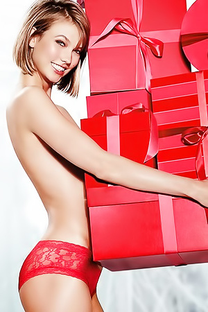 Karlie Kloss making a gift