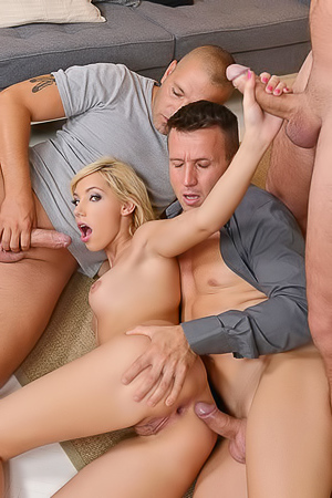 Kimber Delice and three hot men