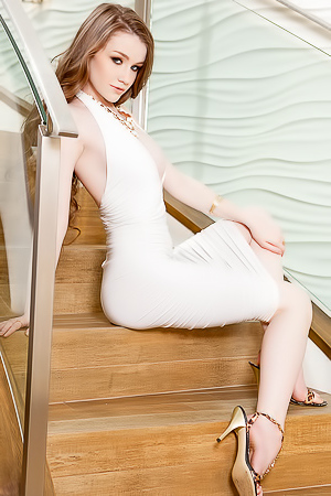 Emily Bloom stripping white tight dress