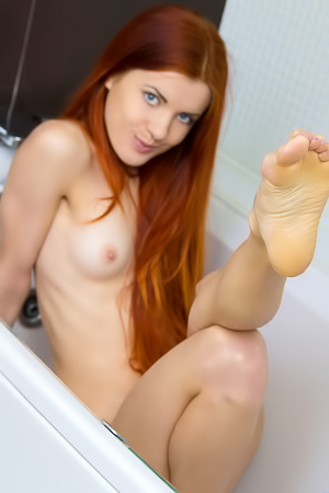Redhead Katya Blue Taking Shower