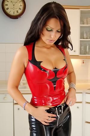 Latex suit on glamour babe