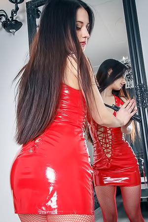 Slutty red latex on Eva Kahil