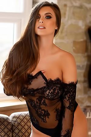 Sarah McDonald in sexy black lingerie