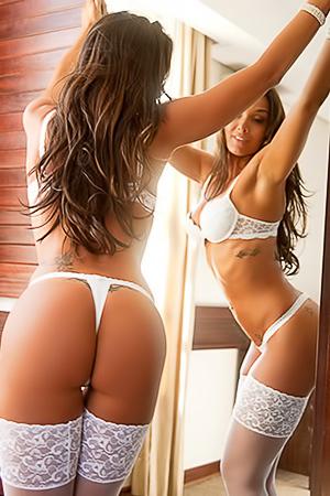 Emmanuelle Guimaraes - white stockings