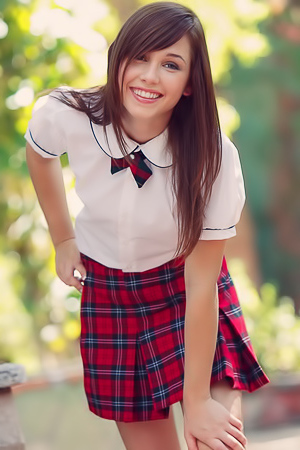 Horny schoolgirl stripping