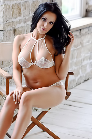 Anna Rose in sexy white lingerie