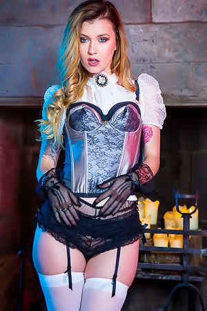 Misha Cross is glamour in stockings
