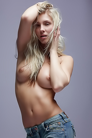 Young girl in blue jeans