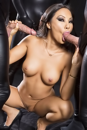 Asa Akira sucking 3 big dicks