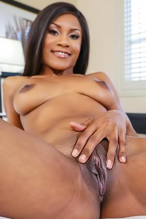 Sexy Indigo is spreading her black pussy