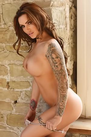 Gemma Massey shows tattoos