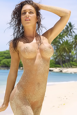 Jessica James - naked on the sand