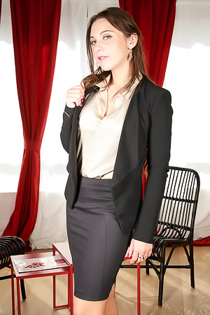 Elegant secretary stripping