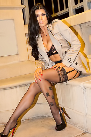 Romi Rain - in public in stockings