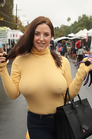 Busty Angela White in public