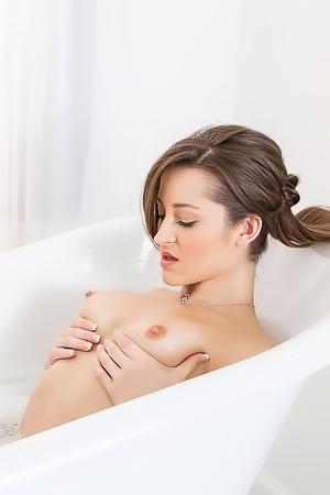 Nude Dani Daniels taking bath
