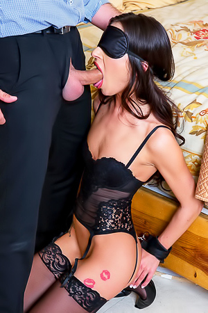 Sexy brunette fucking in stockings