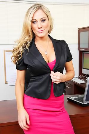 Busty secretary Amber Ashlee