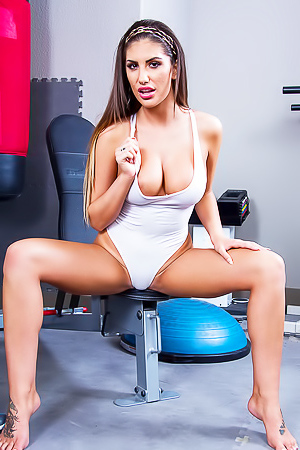 Extra hot August Ames stripping in gym