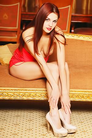 Sexy model Feliza in red dress
