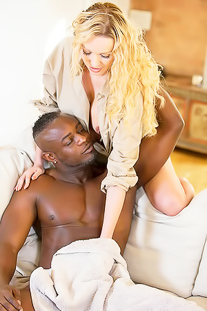 Horny blond playing with black dick