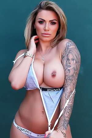 Gemma Massey shows her tattoos