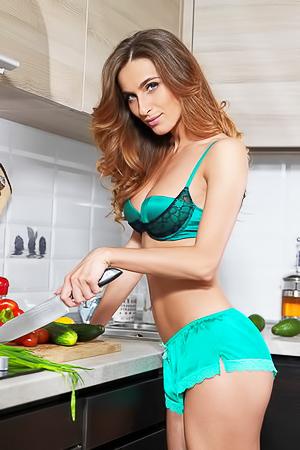 Sexy Cara Mell masturbating in kitchen