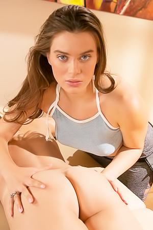 Lana Rhoades massaging her girlfriend