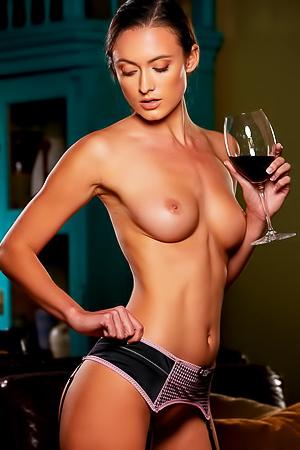 Deanna Greene - supermodel with wine
