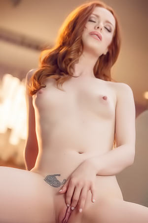 Redhead Ella Hughes Rubbing Hairy Pussy