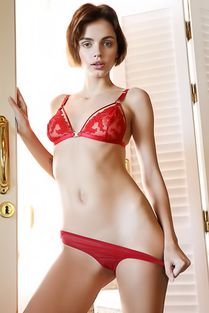 Skinny Babe Ariela In Red Lingerie