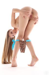 Busty Angel B Stripping Leopard Bikini