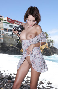 Young Babe Ariela Stripping By The Sea
